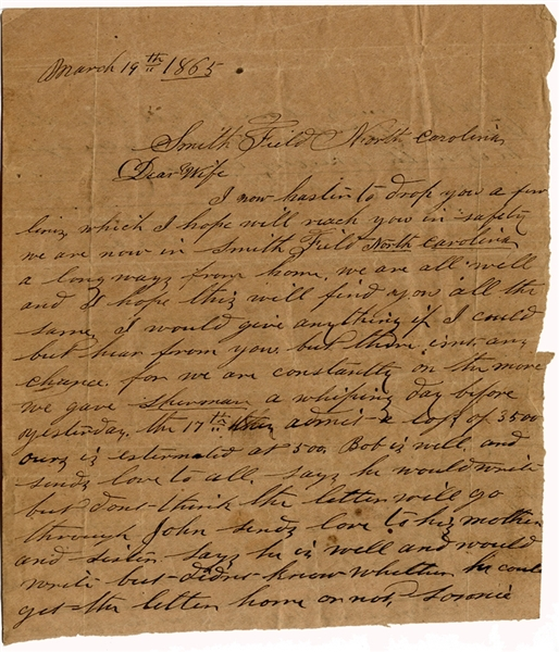 Confederate Letter from the Close of the War in North Carolina