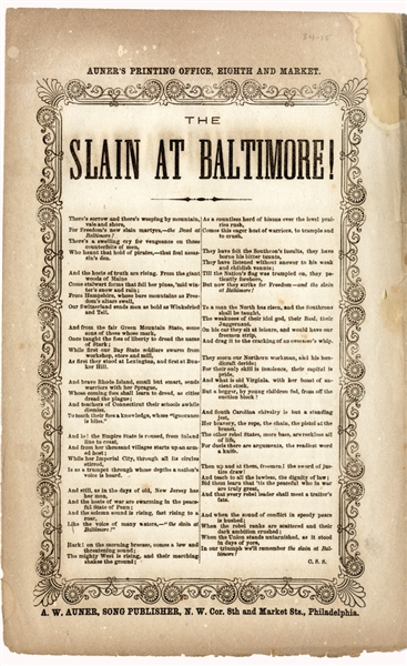 Song Sheet Dedicated To the Fallen Soldiers in Baltimore