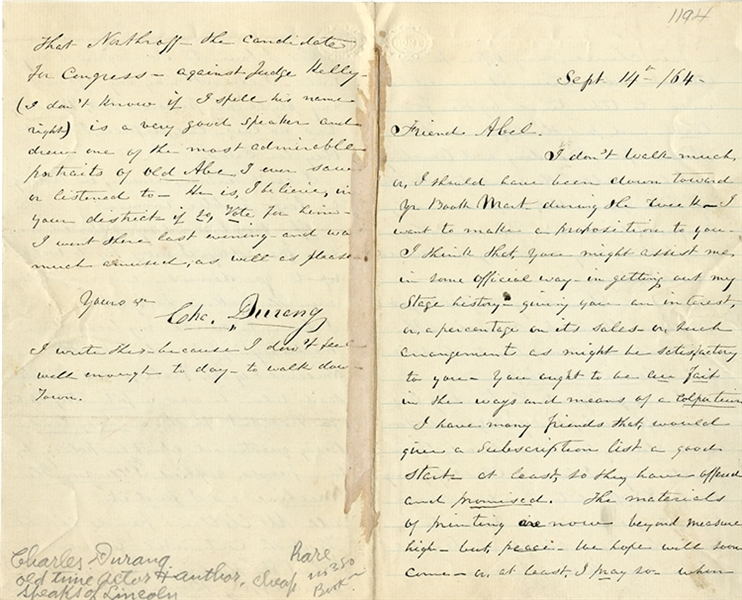 Charles Durang Civil War Letter