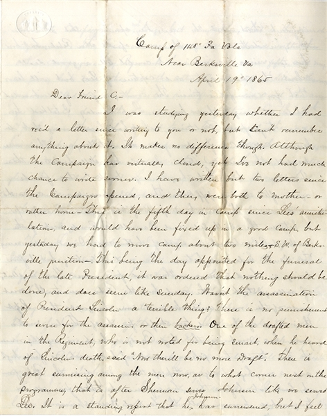 148th Pennsylvania Soldier Writes of the Assassination of Lincoln and the Surrender of Lee