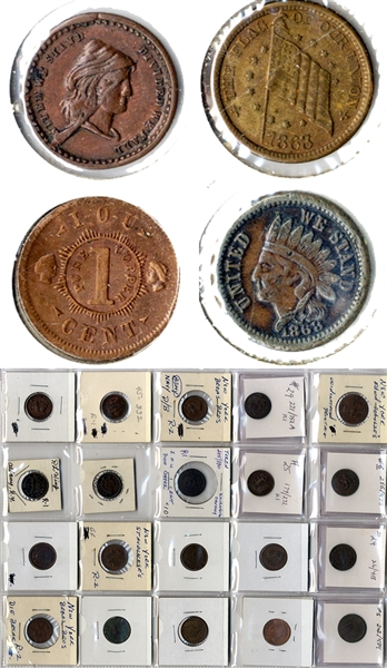 A Collection of Twenty Civil War Tokens