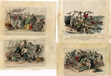 A Group of 4 Hand Tinted Naval Engravings