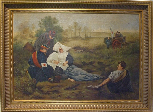 Painting Of Heroic Red Cross Nurse Wounded In The Battle Field