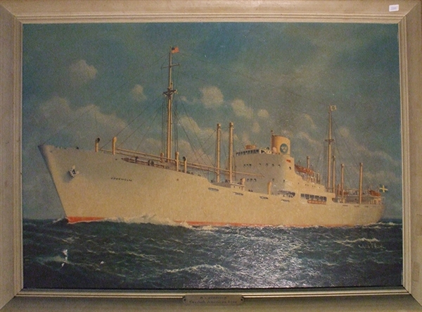 An Original Painting of the MS Uddeholm