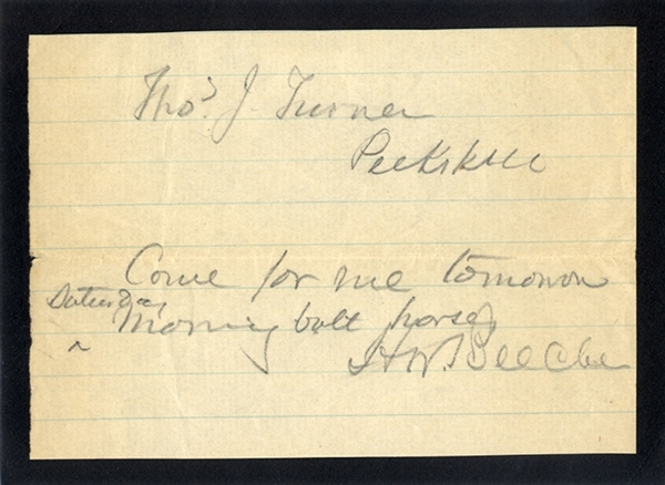 Henry Ward Beecher Note to His Superintendent of the Beecher's farm, near Peekskill