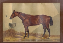 Famous Period Lithograph of  a Hall of Fame Thoroughbred