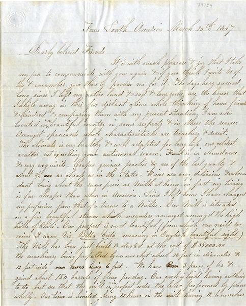 "1847 Letter from South America to Massachusetts - Discusses Cotton Sales in 1844 Mississippi - ""Spaniards whose characteristics are treachery"""