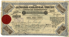 A Share Certificate of The Jewish Colonial Trust with Illustrations in Lithographic Print from the Holy Land 1902