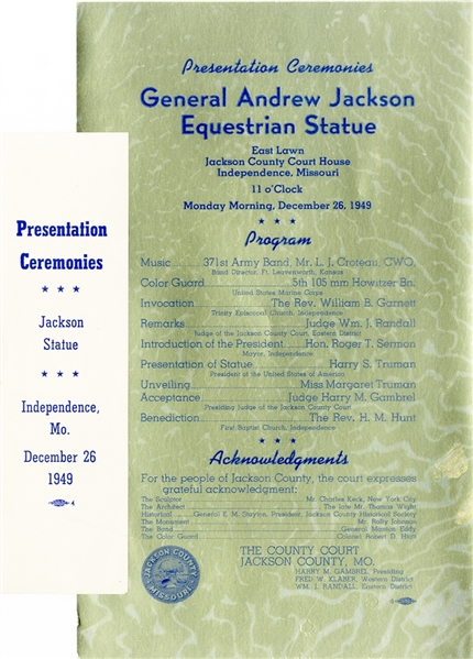 Harry Truman Presents the Equestrian Statue of General Andrew Jackson
