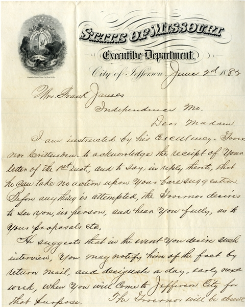 An Important 1882 Letter from Gov. Crittenden's Office to Anna James Regarding Frank James' Possible Surrender.