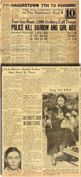 Same Day Report of the Killing of Bonnie and Clyde