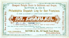 Clipper ship Card - St. Charles, Sutton & Company, Philadelphia.