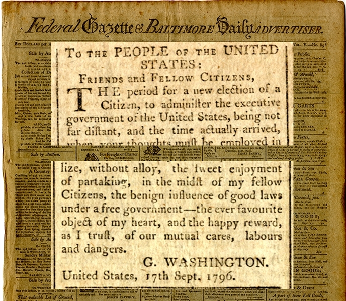 "Washington Warned of To Prevent the Spirit of Partisanship From Bursting into a Flame"" in This, His Farewell"