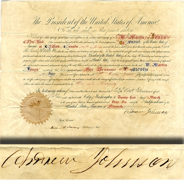 Andrew Johnson Appoints The Cananadian Consul