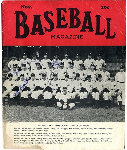 1941 World Series Champions! Cover Signed By Yankees Joe DiMaggio, Lefty Gomez, Charlie Keller, Bill Dickey, & Phil Rizzuto on the November 1941 Baseball Magazine cover