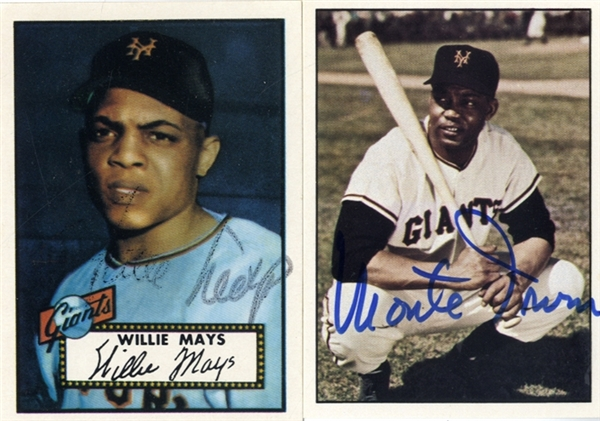 Willie Mays and Negro Leaguer Monte Irvin Signed Cards