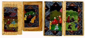 Four Handcrafted Mughal Painted Pages
