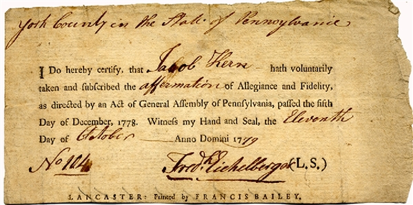 Pennsylvania Revolutionary War Loyalty Oath