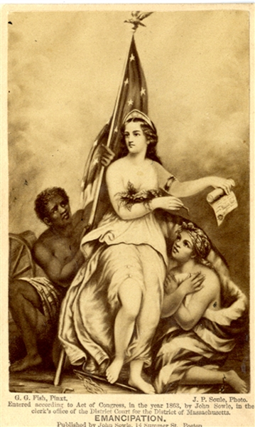 Emancipation Image with Slaves and Lady Liberty