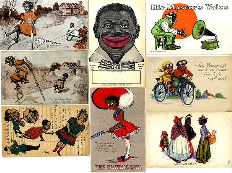 A Grouping of 8 Comic Illustrated Black Americana Post Cards