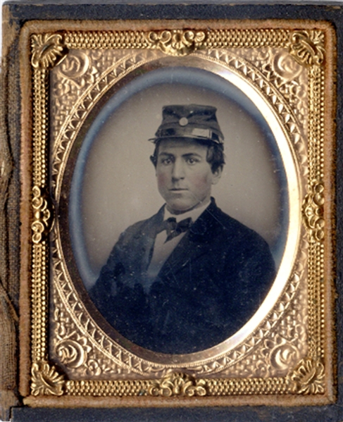 Ambrotype of Raw Recruit with Stephen Douglas 1860 Campaign Badge
