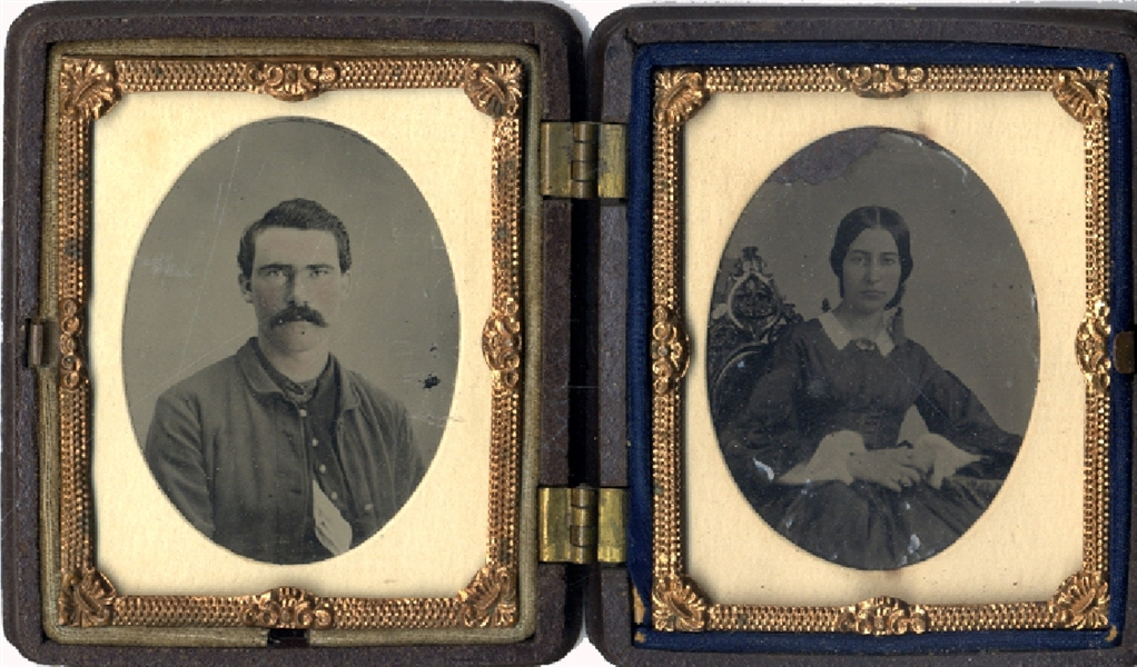 Cased Soldier & His Wife - Tintype