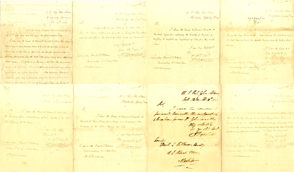 Group of (8)  Letters Signed by  War of 1812 Naval Hero, Philip Falkerson Voorhees