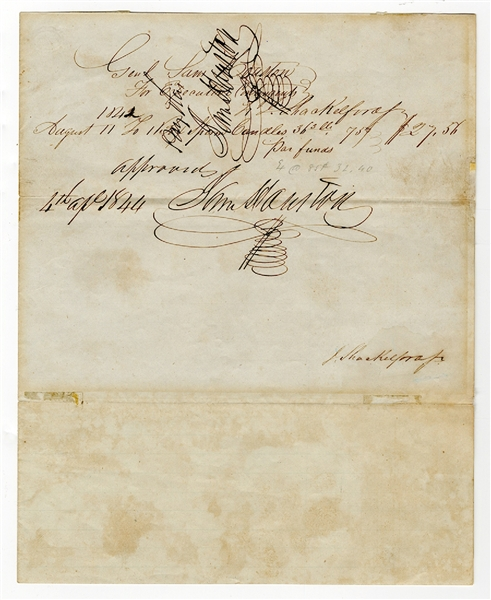 A Desirable Document Twice Signed by Sam Houston as President of Texas