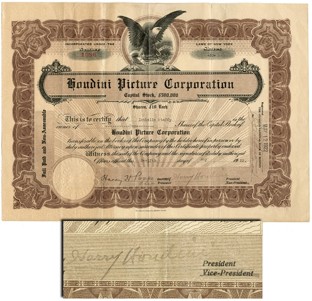 Harry Houdini - Rare signed Houdini Picture Company Stock Certificate