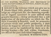 George Washington Letter to the Jewish Masons of Newport, Rhode Island