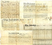 Group of FIVE State of New York Indentures, 1788-1810