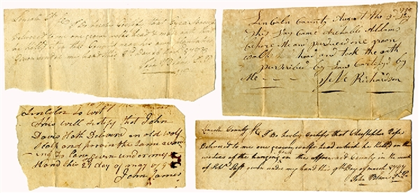Group 4, 1790's Kentucky Wolf Scalp Bounty Receipts