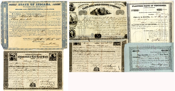 Mid 1800's Stock Certificates