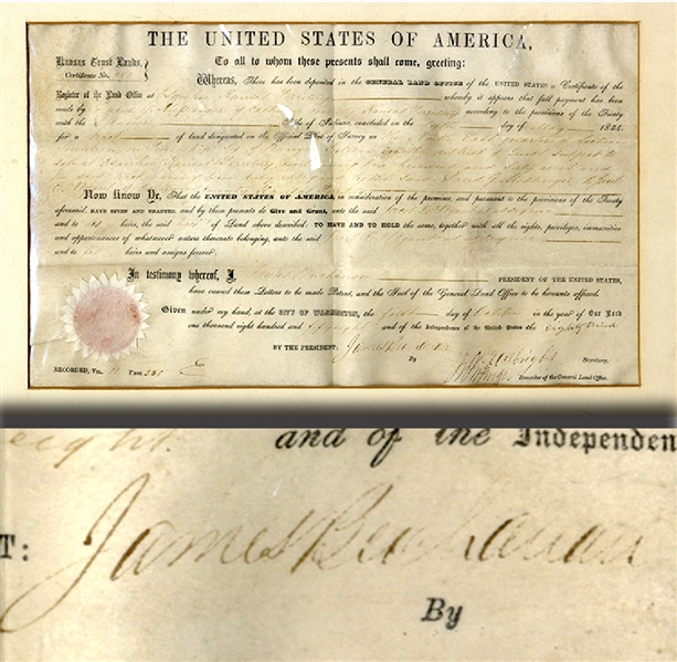 James Buchanan Secretarial Signed Land Grant