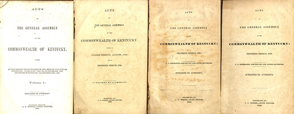 The Early Laws From the Commonwealth of Kentucky