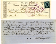 Checks Signed by Generals A.W. Campbell and C.C. Washburn