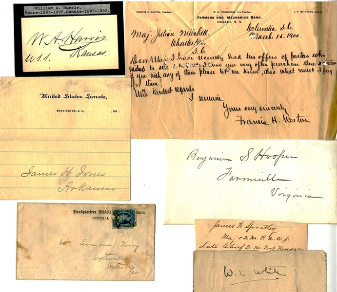 Group of SEVEN Confederate Military Autographs