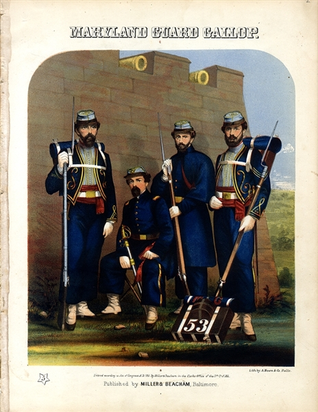Vibrantly Colored Lithograph Maryland Guard Gallop