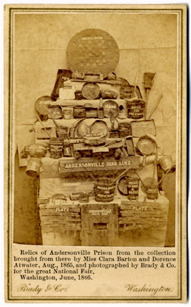"CDV of the Collection of Andersonville Relics Obtained by Clara Barton Including the ""Dead Line"""