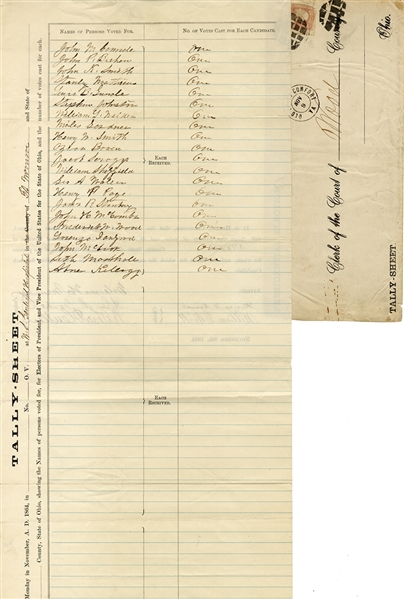 1864 Election Tally Sheet