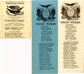 "Trio of Northern States 1864 ""Union Ticket"" Governor Campaign Ballots."