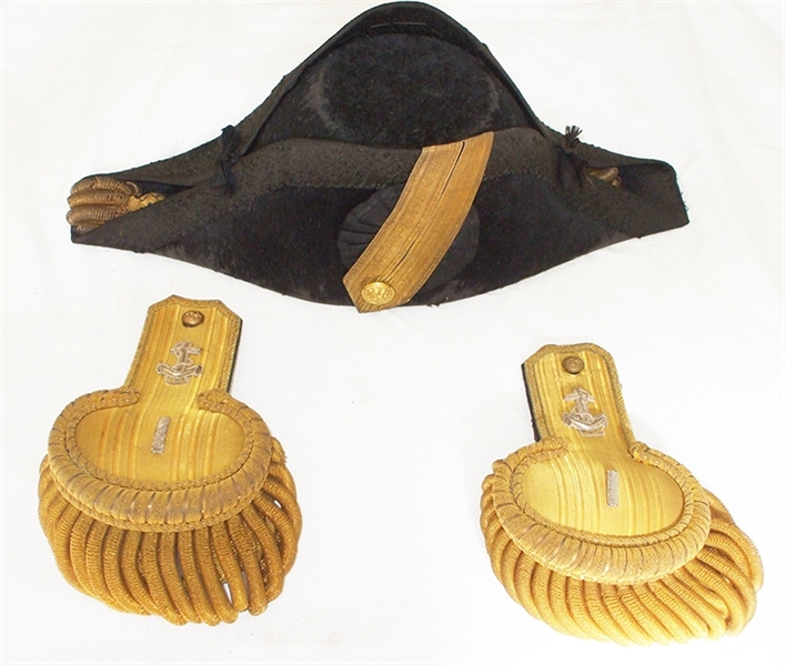 U.S Naval Officer's Full Dress Epaulettes, Fore-and-Aft Hat, in the Original Enameled Case,