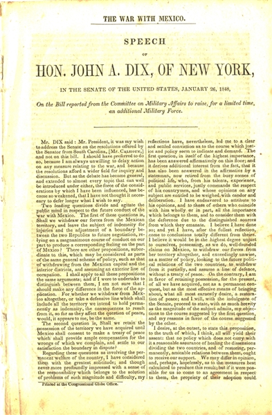 1848 War with Mexico - John A. Dix Speech
