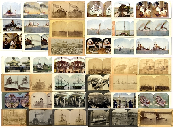 Group of forty-two (42) Naval Stereoviews