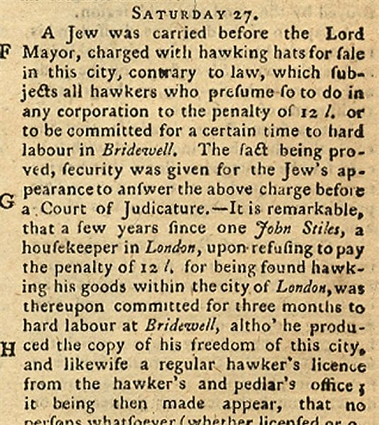 Another Jew Arrested in 1767