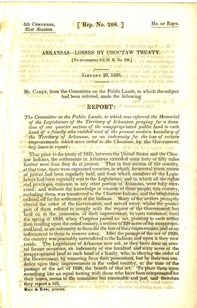 1836 REPORT RE PUBLIC LANDS CHOCTAW TREATY & EARLY COMM. ON INDIAN AFFAIRS 1845