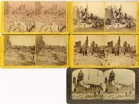 Group of five stereoviews of  1872 Boston Fire and San Francisco Earthquake