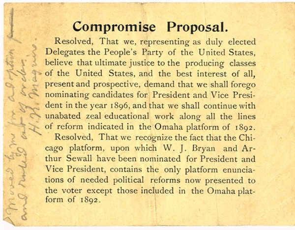 People's Party Compromise 1896 Presidential Election- Supports Bryan