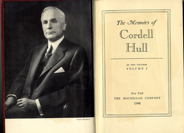 Book Signed by Cordell Hull