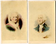 Pair Nicely Tinted CDVs of George and Martha Washington
